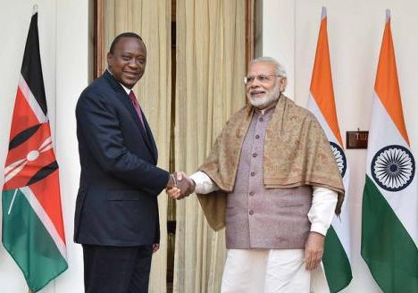 President of Kenya, H.E. Mr. Uhuru Kenyatta with Prime Minister of India, Mr. Narendra Modi during State Visit of President of Kenya to India (11 January, 2017)