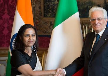 Ambassador of India to Italy, Mrs. Reenat Sandhu presenting credentials to the President of the Republic of Italy, H.E. Sergio Mattarella at Quirinale Palace on 20th July, 2017