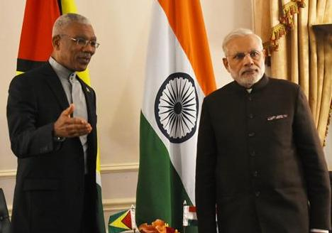 H.E. Mr. Narendra Modi, Prime Minister, Republic of India and H.E. Brig. David Arthur Granger, President, Republic of Guyana, New York, September 2015.