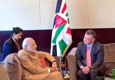 Prime Minister Narendra Modi meets with King Abdullah II of Jordan on Sept 25,2015