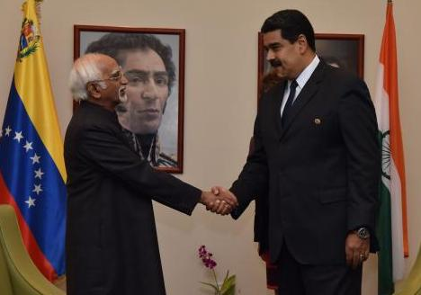 The Vice President of India, H.E. Mr. M. Hamid Ansari paid a visit to Margarita, Venezuela on 16-18 September 2016 to attend the 17th NAM Summit. Besides participating in the Summit, the Vice President had a bilateral meeting with the Hon'ble President of the Bolivarian Republic of Venezuela, Hon'ble Mr. Nicolás Maduro on 16 September 2016.
