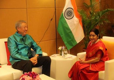 External Affairs Minister of India with Deputy Prime Minister of Singapore