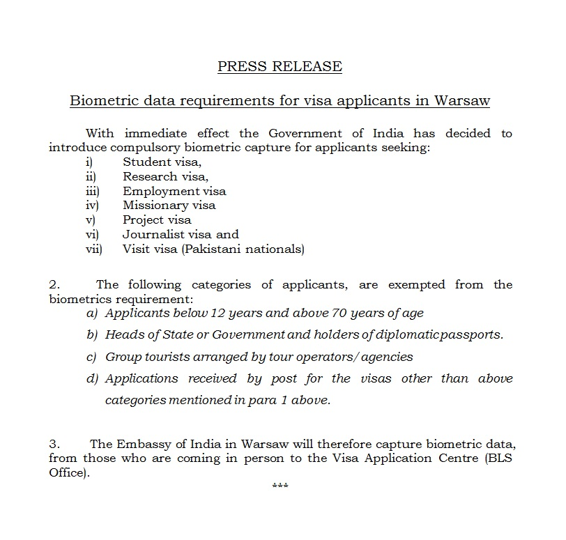 Mea indian missions abroad indian mission press release biometric data requirements for visa applicants in warsaw altavistaventures Gallery