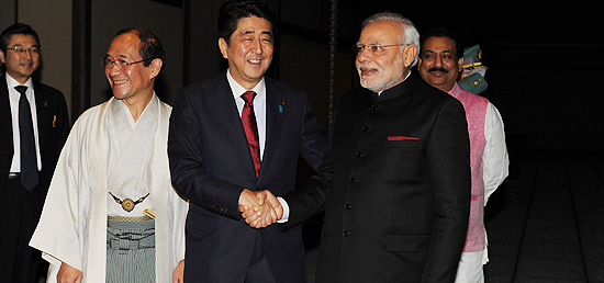 Prime Minister being received by Prime Minister Shinzo Abe of Japan at State Guest House in Kyoto