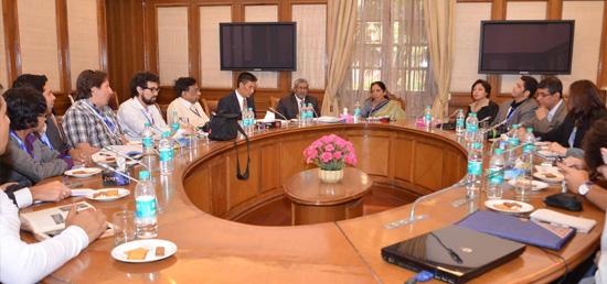 Journalists from Latin American Countries call on Nirmala Sitharaman, Minister of State for Commerce and Industries (Independent Charge) during their familiarization visit to India