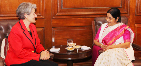 Director General of UNESCO, Irina Bokova meeting with External Affairs Minister in New Delhi