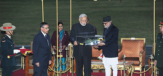 Prime Minister hands over ALH Dhruv to Nepal Army at Army Pavilion in Kathmandu