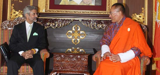 Foreign Secretary calls on Prime Minister Tshering Tobgay in Thimphu during his visit to Bhutan as part of 'SAARC Yatra'