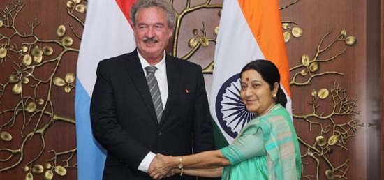 External Affairs Minister meeting with Jean Asselborn, Minister of Foreign Affairs of Luxembourg in New Delhi