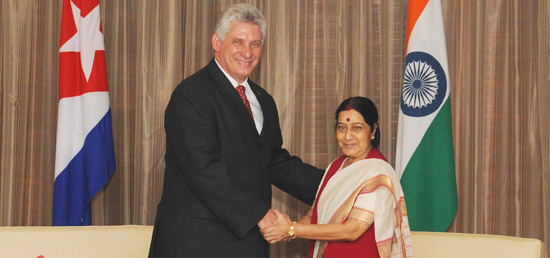 External Affairs Minister calls on the First Vice President Miguel Diaz-Canel Bermudez Mario of Republic of Cuba in New Delhi