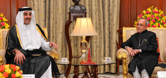 The Emir of the State of Qatar, His Highness Sheikh Tamim Bin Hamad Al-Thani meeting with the President in New Delhi