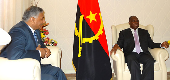 Minister of State for External Affairs call​s​ on ​​Vice President Manuel Vicente ​of Angola in Luanda to extend invitation to Angolan leadership for the 3rd India-Africa Forum Summit to be held in New Delhi