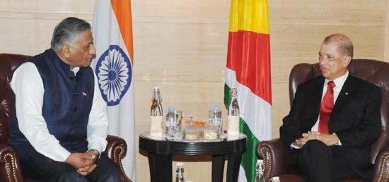 Minister of State for External Affairs calls on President James Alix Michel of Republic of Seychelles in New Delhi