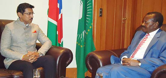 Minister of State (IB) and Special Envoy of Prime Minister meets Vice President Nickey Lyambo of Namibia in Windhoek to extend invitation to the Namibian Leadership for the 3rd IAFS Summit