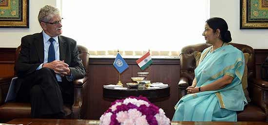 External Affairs Minister meets Mogens Lykketoft, President-elect of the General Assembly of the United Nations in New Delhi