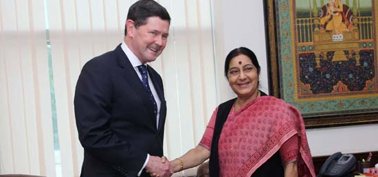 External Affairs Minister meeting with Defence Minister Kevin Andrews of Australia in New Delhi