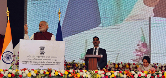 Prime Minister addresses the gathering at the Inauguration of International Solar Alliance Secretariat in Gurgaon