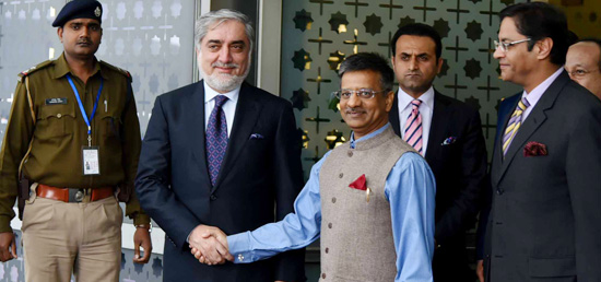Dr. Abdullah Abdullah, Chief Executive Officer and Head of the Council of the Ministers of the Islamic Republic of Afghanistan arrives in New Delhi
