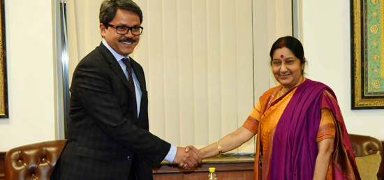 External Affairs Minister meets Shahriar Alam, Minister of State for Foreign Affairs of Bangladesh in New Delhi