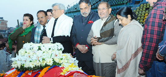 External Affairs Minister, National Security Advisor and Members of Parliament Anand Sharma, Sitaram Yechuri and Sharad Yadav pay their last respects to former Prime Minister Sushil Koirala of Nepal in Kathmandu