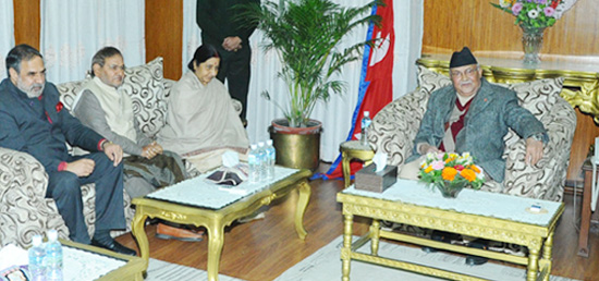 External Affairs Minister and all party delegation call on Prime Minister Khadga Prasad Sharma Oli of Nepal in Kathmandu