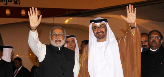 Crown Prince of Abu Dhabi Sheikh Mohamed Bin Zayed Al Nahyan arrives in New Delhi on his State visit to India