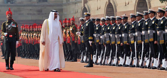 Crown Prince of Abu Dhabi​ Sheikh Mohamed Bin Zayed Al Nahyan inspects Guard of Honour during Ceremonial Reception at Rashtrapati Bhavan