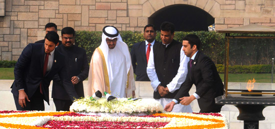 Crown Prince of Abu Dhabi Sheikh Mohamed Bin Zayed Al Nahyan lays wreath at the Samadhi of Mahatma Gandhi at Rajghat in New Delhi