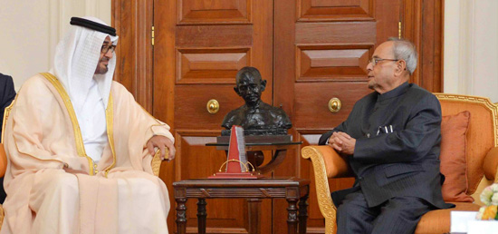 Crown Prince of Abu Dhabi ​Sheikh Mohamed Bin Zayed Al Nahya calls on President at Rashtrapati Bhavan in New Delhi during his State visit to India​