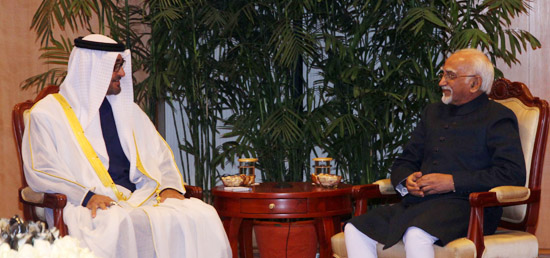 Crown Prince of Abu Dhabi Sheikh Mohamed Bin Zayed Al Nahyan calls on Vice President in New Delhi
