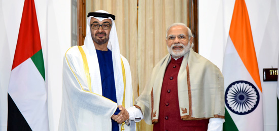 Prime Minister meets Crown Prince of Abu Dhabi Sheikh Mohamed Bin Zayed Al Nahyan in New Delhi