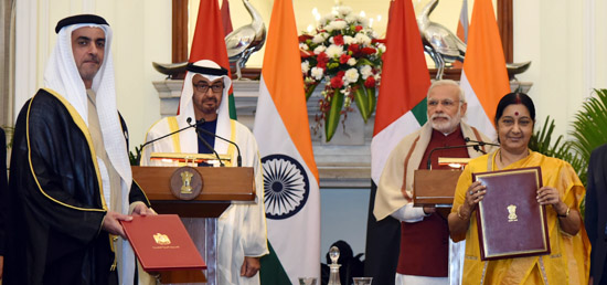 Prime Minister and Crown Prince of Abu Dhabi Sheikh Mohamed Bin Zayed Al Nahyan witness exchange of agreements and MOUs in New Delhi