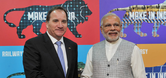 Prime Minister meets Prime Minister Stefan Lofven of Sweden at Make in India Centre in Mumbai