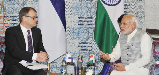 Prime Minister holds bilateral meeting with Juha Sipila, Prime Minister of Finland in Mumbai