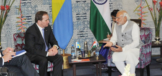 Prime Minister holds bilateral meeting with Stefan Lofven, Prime Minister of Sweden in Mumbai