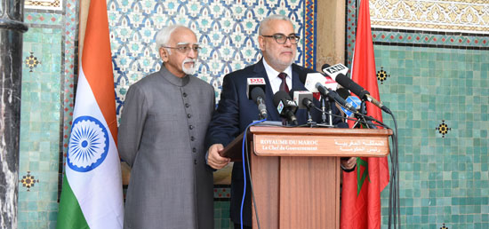 Vice President and Abdelilah Benkirane, Prime Minister of Morocco at Joint Press Statement in Rabat
