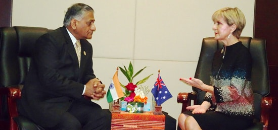 Minister of State for External Affairs Dr. V.K. Singh meets Julie Bishop, Foreign Minister of Australia on the sidelines of ASEAN-India Ministerial Meeting in Vientiane