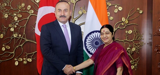 External Affairs Minister meets ​Mevlut Cavusoglu, Minister of Foreign Affairs of Republic of Turkey​ ​in New Delhi