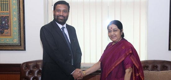 External Affairs Minister meets Bimalendra Nidhi, Deputy Prime Minister of Nepal​ in New Delhi​
