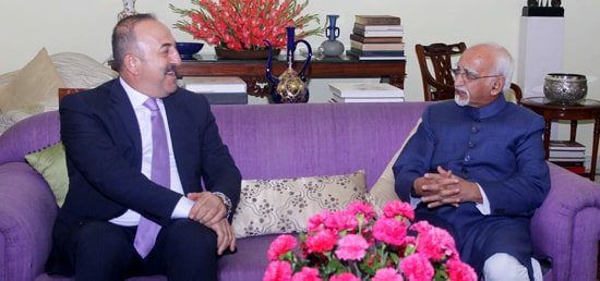 Mevlut Cavusoglu, Minister of Foreign Affairs of Republic of Turkey ​calls on Vice President in New Delhi