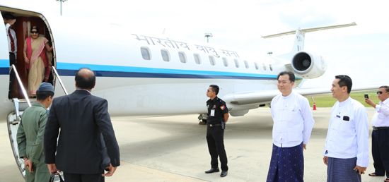 External Affairs Minister arrives in Nay Pyi Taw on her visit to Myanmar