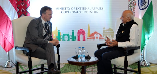 M.J. Akbar, Minister of State for External Affairs meets Andrejs Pildegovics, Secretary of State of Latvia on the sidelines of the 6th Heart of Asia Ministerial Conference