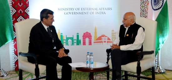 M.J. Akbar, Minister of State for External Affairs meets Rasit Meredow, Deputy Prime Minister of Turkmenistan on the sidelines of the 6th Heart of Asia Ministerial Conference in Amritsar