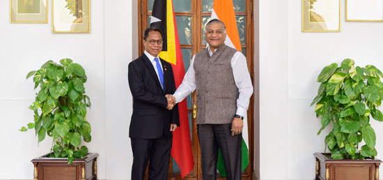 Gen. (Dr.) V.K. Singh (Retd.), Minister of State for External Affairs meets Roberto Sarmento de Oliveira Soares, Vice Minister of Foreign Affairs and Cooperation of Timor Leste in New Delhi
