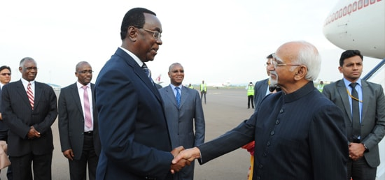 Mukuza Bernard, President of Senate of Rwanda warmly welcomes Vice President on his arrival at Kigali International Airport in Rwanda