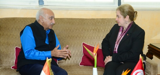 Minister of State for External Affairs M J Akbar meets Minister of Energy, Mining and Renewable Energy of Tunisia, Hela Cheikhrouhou in Tunis