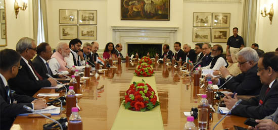 Prime Minister and Sheikh Hasina, Prime Minister of Bangladesh lead delegation level talks in Hyderabad House, during her State Visit to India