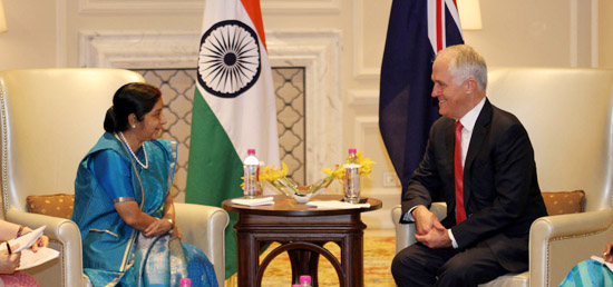 External Affairs Minister calls on Malcolm Turnbull, Prime Minister of Australia in New Delhi during his State visit to India