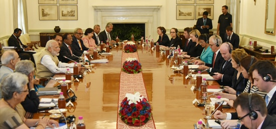 Prime Minister and Malcolm Turnbull, Prime Minister of Australia hold delegation level talks at Hyderabad House in New Delhi
