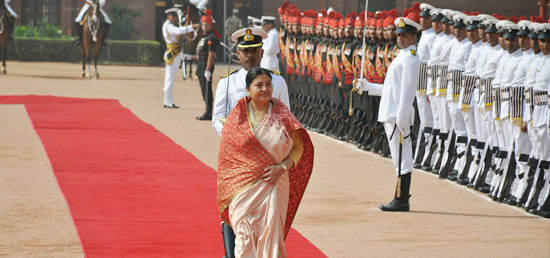 Bidya Devi Bhandari, President of Nepal​ inspects the Guard of Honour during her Ceremonial Reception​ at Rashtrapati Bhawan​ in New Delhi